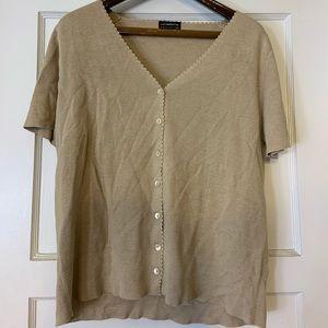 Liz Claiborne Creme short sleeve button cardigan